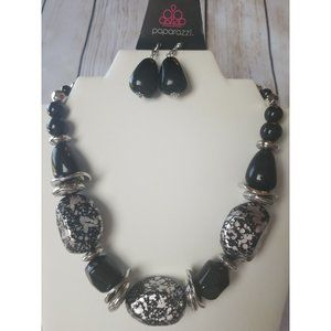 Paparazzi Black & Silver Beaded Necklace Earrings